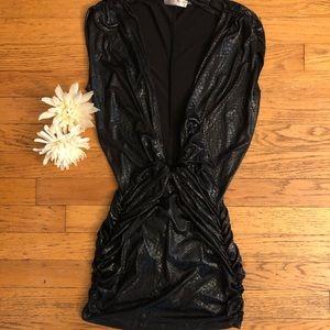 A'gaci snakeskin black low cut mini club dress  🐍